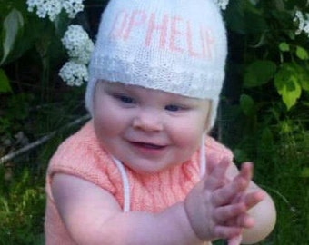 Personalized Knit Hat, 3 - 6 Month Size