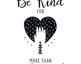 Be Kind Heart Scandinavian Boho Print