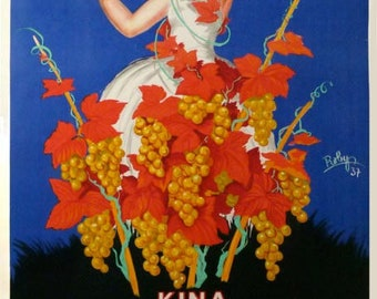 original kina lillet poster from 1937 by Robys on linen and in excellent condition