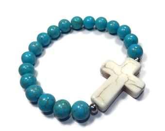 Southwest - Turquoise Blue/White Bracelet - Howlite Stretch Stacking Bracelet with Gemstone Cross - Mishimon Designs