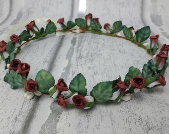 Rose hair wreath, vintage, festival headdress, rosebuds, floral circlet, rose hair garlands, flower girls, halo, costume crown, hair wreath