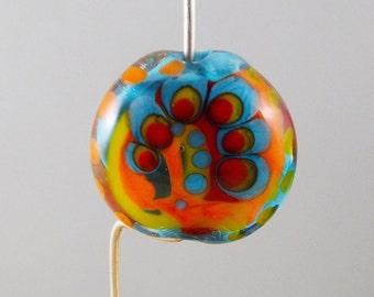Aqua Lampwork Bead: Artisan, Multicolor, Free Form Decoration