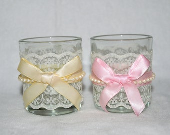6 Votive with Lace, Bow ribbon, and Pearl beads