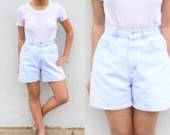 Lee Medium Wash Blue Denim Shorts High Waist Jean Shorts