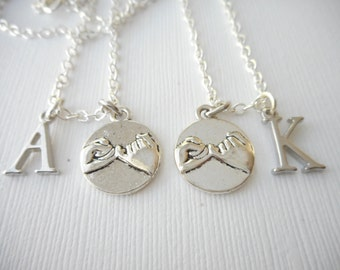 2 Pinky Promise- Initial Best Friend Necklaces (Set)