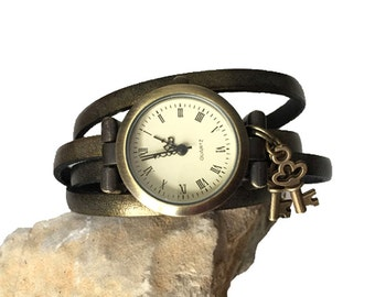 Women's watch leather jewelry for Eve party, bronze leather