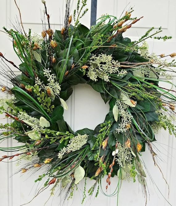 20 inch preserved eucalyptus wreath, seeded eucalyptus wreath, leaf wreath, preserved wreath, dried wreath, foliage  wreath
