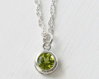 Genuine Peridot Necklace Silver / Small Round Peridot Solitaire Pendant / August Birthstone Jewelry / Sterling Silver Peridot Necklace