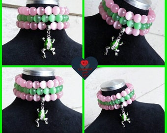 Pink/Green Stacked Bracelets