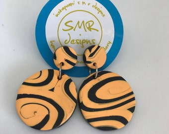 Funky Orange Maze Polymer Clay Dangles