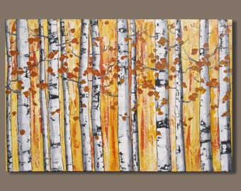 FREE SHIP autumn birch tree painting, large abstract painting, quaking aspens, orange, birch tree painting, landscape painting, wall art
