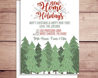 Holiday Moving Announcements - New Address Announcements - New Home for the Holidays - Woods Moving Announcement
