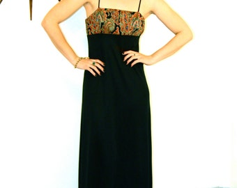 70s Maxi Dress, Vintage 1970s maxi, Paisley maxi dress, Spaghetti Strap dress, High Empire Waist, Retro Cocktail Hostess, Sexy Black dress
