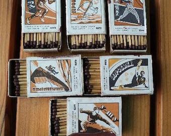 A set of 6 boxes Soviet wooden matches, USSR matches, SPORT, an old matchbox, Soviet rare, vintage, 1985