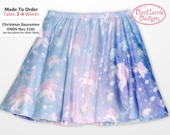Unicorn Skirt Pegasus Pony Pastel Fairy Kei Lolita Pastel Galaxy Skirt Stars universe Size XS Through 3XL *Made to Order*