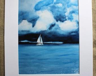 Sailboat Watercolor Print, Thunderstorm, Thunderclouds, dreamy, Nautical print, Ocean, Blue, Home Decor, Beach Art, Watercolor with mat