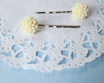 Cream Flower Hair Clips