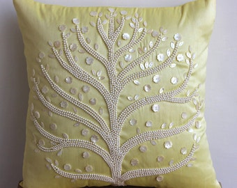 "Luxury Yellow Pillow Covers, Pearl Tree Pillows Cover Square  18""x18"" Silk Pillows Cover - Yellow Tree"