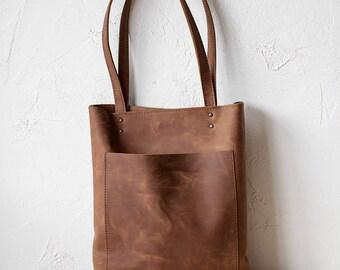 Cognac Distressed Leather Tote bag, brown Leather Bag, front Pocket Bag, School Bag, Travel Tote bag, Shopper Bag, Rustic