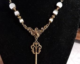 """17 1/2"""" Skeleton Key pendant necklace with White Cat Eye beads"""