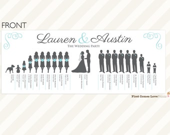"""PRINTABLE Silhouette Wedding Program • """"The Lauren: Double-Sided"""" • Extra Large Bridal Party • Choose Your Silhouettes/Colors • 11 x 4.25 in"""