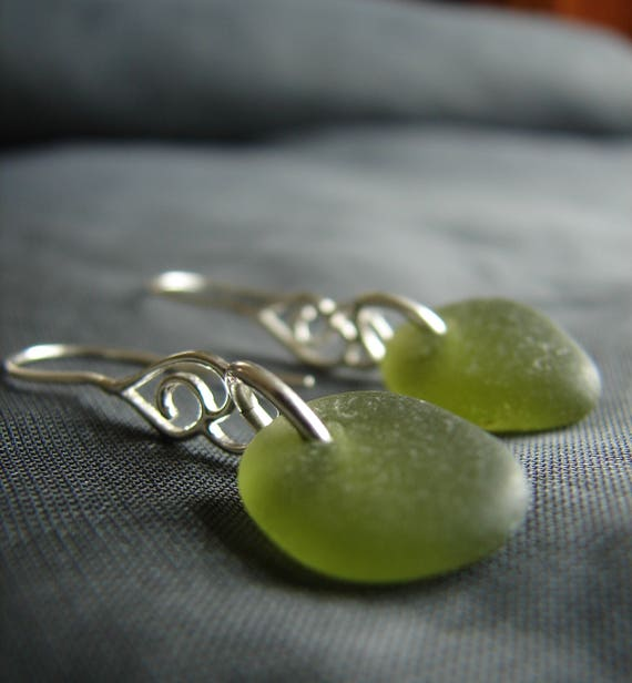 Whitecap sea glass earrings in olive green