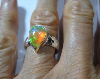 Ethiopian Opal Ring ..Sterling Silver Hammered Band with 14 kt Gold ..U.S. Size  7  1/2 ...  A53