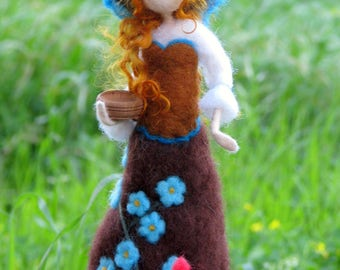 Art doll with chicken Needle felted doll Spring decoration Waldorf inspired farm