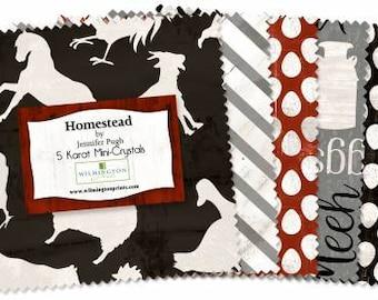 Homestead 5 Inch Squares Charm Pack, 24 Pieces, Jennifer Pugh, Wilmington Prints, Precut Fabric, Quilt Fabric, Cotton Fabrics