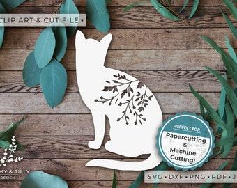 Cat No.5 Silhouette - Clipart & Cut File - Hand Papercutting - Cricut / Silhouette - SVG DXF PNG Pdf Jpg - Kids Children Nursery