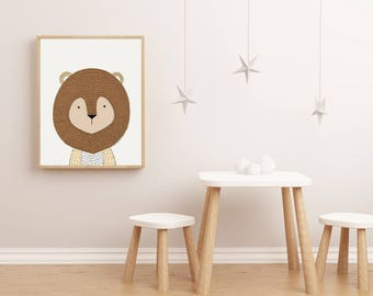 Lion Wall Art, Nursery Wall Art Animals, Nursery Wall Art Printable, Wall  Art