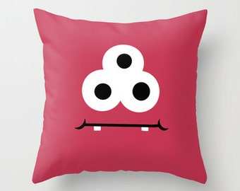 Red Monster Throw Pillow Cover Includes Pillow Insert - Childs Red Pillow - Kids Room Decor - Made to Order