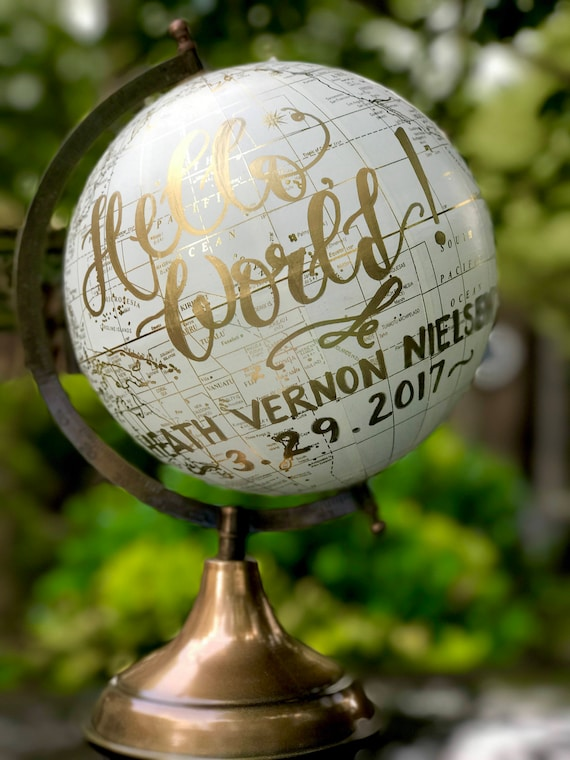 Custom Calligraphy Globe /Choice of Wording /White and Gold Calligraphy Globe/Custom Calligraphy of Your Choice/ Wedding Guest Globe/Nursery