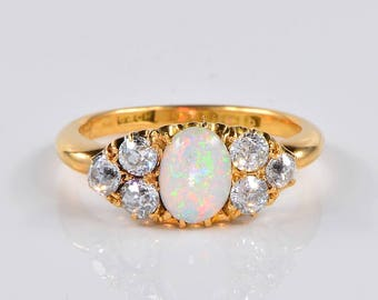 Rare Victorian Mizpah opal and diamond English engagement ring