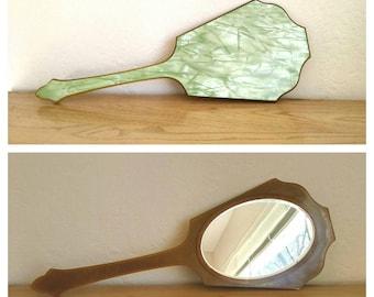 Vintage celluloid bakelite hand mirror, marbled green amber layered, vanity boudoir mirror