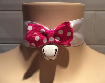 Luxury White Silky Ribbon Day Collar With Polka Dot Bow And Cute Cat Bell