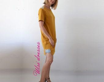 Mustard shift dress Casual Boat neck dress with pockets Party women short sleeve dress Pregnancy summer dress Mini Office dress.