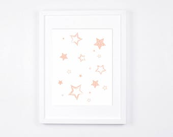 Peach Stars Nursery Art Printable, Stars Art, Modern Wall Art, Peach Nursery Digital Print, Sweet Baby Room Decor, Peach Kids Room Art