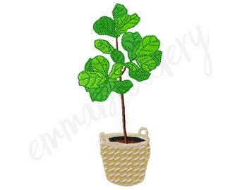 "5 Sizes Fiddle Leaf Fig Embroidery Design - 3"" 4"" 5"" 6"" 7"" - Machine Embroidery Design - Instant Download - 8 File Formats - PES DST JEF"