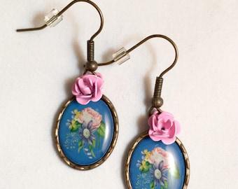 Flower Arrangement Scene Earrings, Blue Background, Bronze Setting