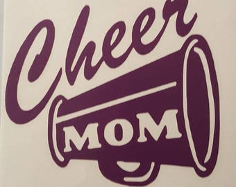 Cheer Mom with Megaphone Purple vinyl decal