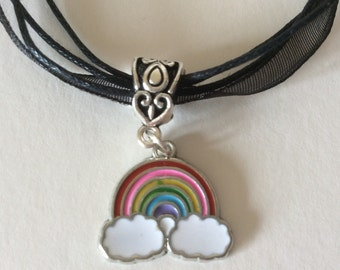 Rainbow charm necklace, rainbow jewelry, kids or teens jewellery stocking filler, child's party bag gift pendant