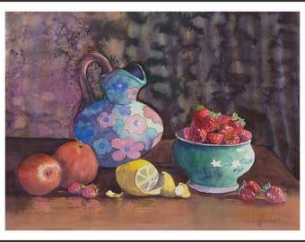 Watercolor - blue jug