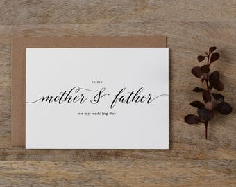 Wedding Card To My Mother + Father, To My Parents on My Wedding Day, To My Mom, To My Dad, To My Father On My Wedding Day Card, K2