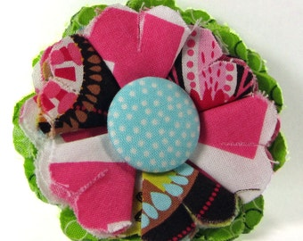 Fabric Flower Pin, Fabric Flower Brooch, raw edge flower, pink, brown, aqua - FP07