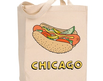 Chicago Hot Dog Tote Bag, Market Bag, Canvas, Gift (TOTE1)