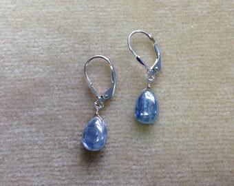Kyanite Sterling Silver Leverback Earrings 1167