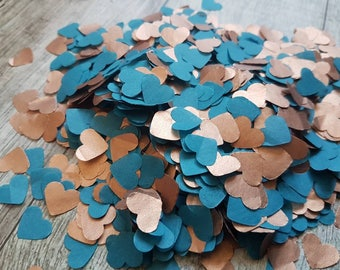 Copper ( rose gold) and Teal blue  - heart confetti !Wedding,party decoration,throwing! Romantic Autumn colours Biodegradable 2- 10 handfuls