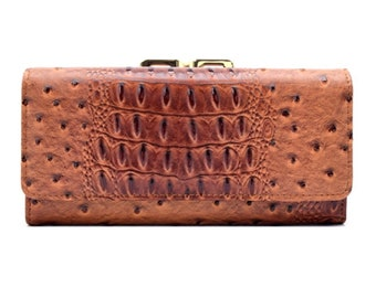 Animal Skin Textured Tri-Fold Kiss Lock Combo Wallet - Brown