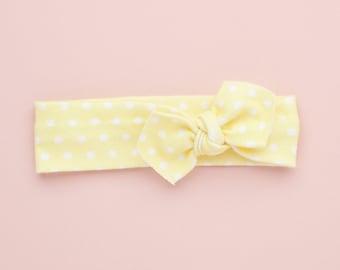 Lemon Polkadot Organic Baby Headband / Baby Headband / Baby Gift / Newborn Headband / Baby Headbands / Infant Headband /Baby Headwrap